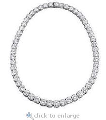 The Ziamond cubic zirconia Classic Tennis Necklace is featured with .25 carat each round cz.  $3895 #ziamond #cubiczirconia #cz #tennisnecklace #classictennisnecklace #necklace #14kgold