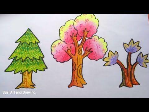 Cara Mewarnai Gradasi Pohon Dengan Crayon Oilpastel Youtube Di