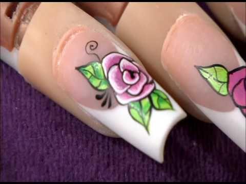 Como Pintar Uñas Con Vintage Flores Youtube Diseños De Uñas Rosas Decoracion De Uñas Rosas Como Pintarse Las Uñas