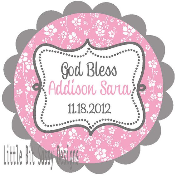 Baptism Custom stickers flowers Round Labels by LittleBitSassy, $5.00