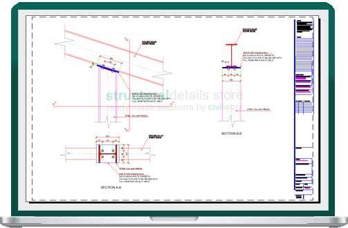 Sb17 Inclined Steel Beam On Top Of Heb Steel Column Connection Detail Steel Columns Steel Beams Beams