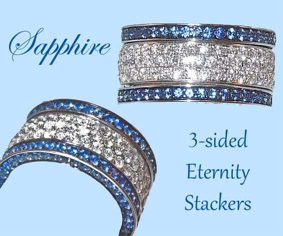 These two Sapphire stackers have stones all the way around on three sides. We've chosen to stack them with a stunning three row diamond ring!