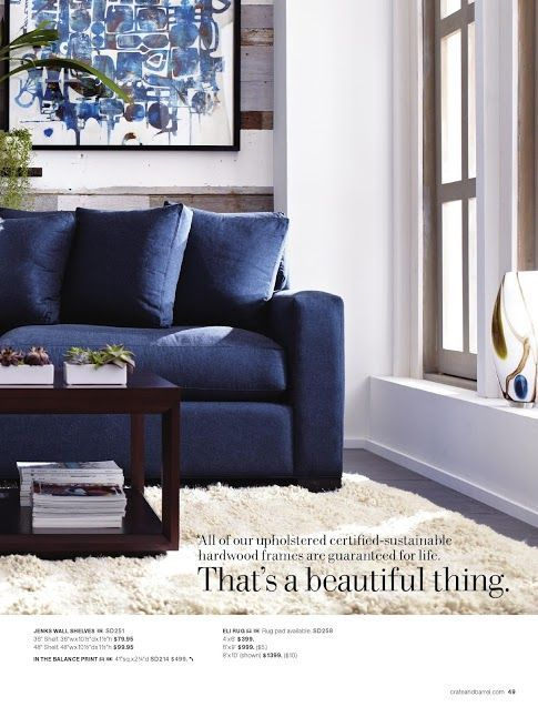 Really Love This Color Combination The White Walls And Dark Floors With Large White Rug Really Blue Sofas Living Room Blue Couch Living Room Blue Sofa Living