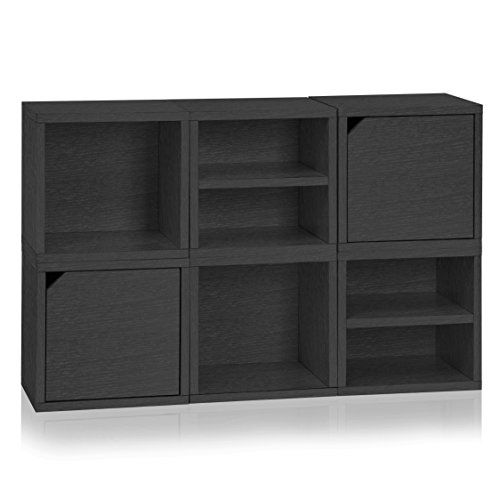 Way Basics 6 Modular 3 In 1 Shelf Connect Cube Storage System Black Wood Gra Bookcase Storage Way Basics Cube Storage