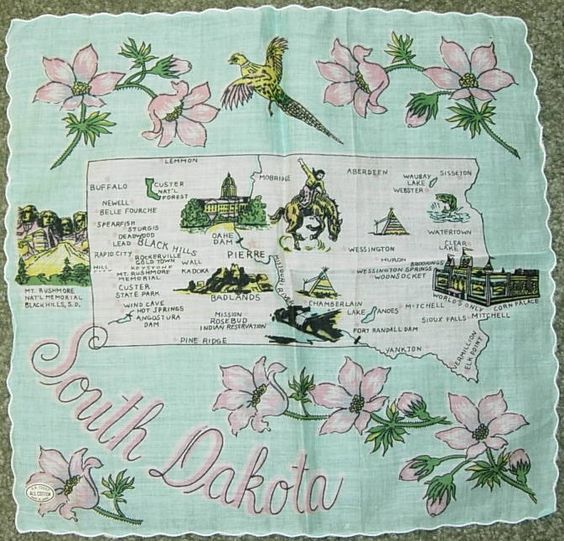 South Dakota state map + pink pasque flowers [handkerchief / scarf]
