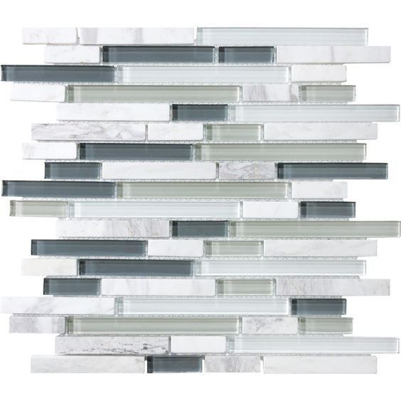 Allen Roth Venatino Linear Mosaic Stone And Glass Marble