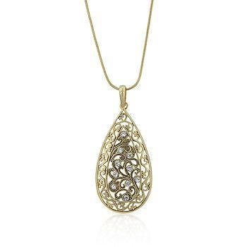 Filigree Crystal Crest Necklace