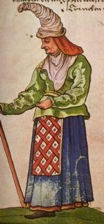 """Old woman. """"Trachtenbuch de Christoph Weiditz von seinen teisen nach Spanien (1529)und den Niederlandeden (1531/32)"""""""