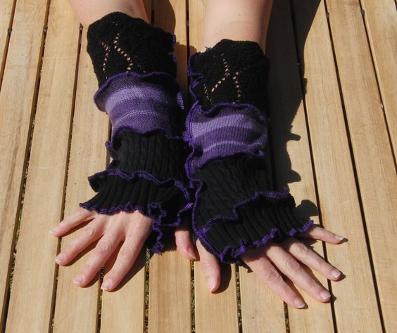 Purple and black arm warmers with lace, upcycled sweater. $19.50, via Etsy.
