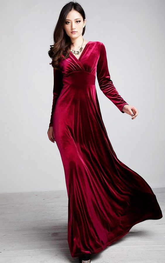 Red Long Sleeve Velvet Maxi Dress  Sleeve Maxi dresses and Red