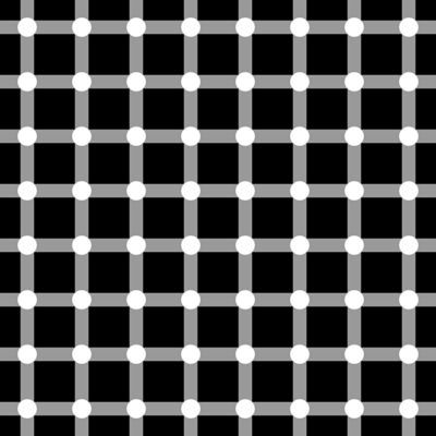 Do you see white dots or black dots?  They are actually white, but the pattern tricks your brain into seeing black that isn't there.