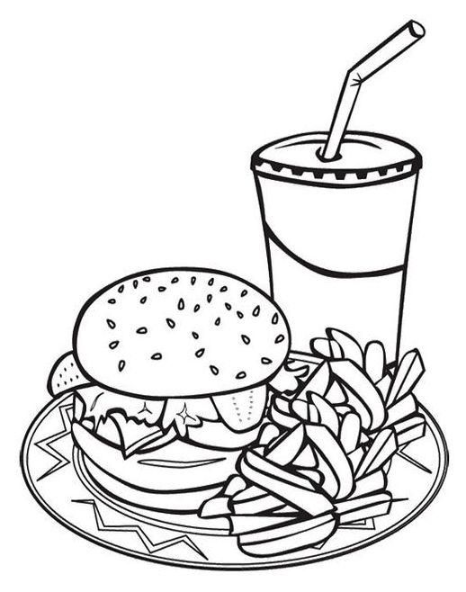 Junk Food Coloring Pages Fast Food Coloring Sheet With Images