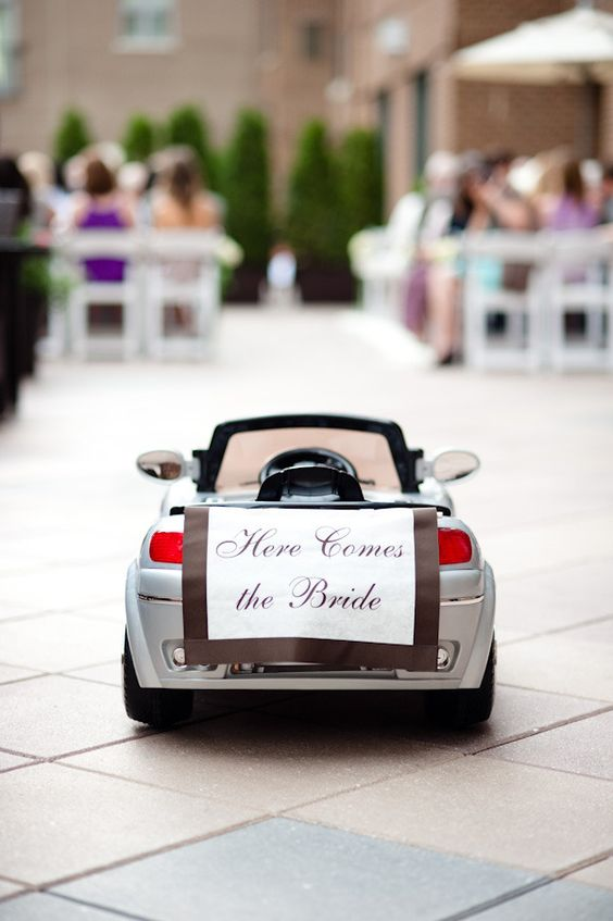 ceremony sign on a kid car