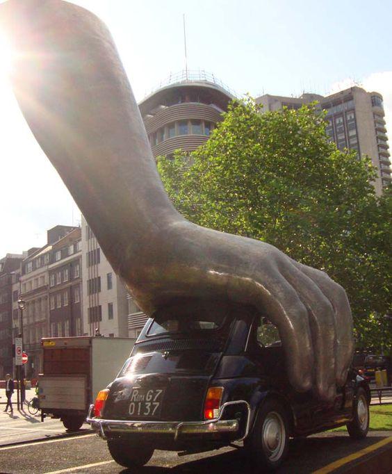 A FIAT 500 SCULPTURE IN LONDON