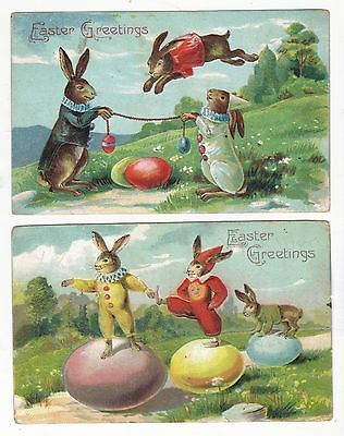 2- Dressed Bunnies Playing Sports Easter Greetings Antique Postcards N2346: