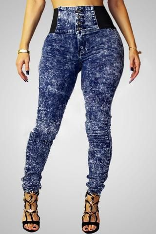 Hit color Snowflake High-waist Jeans Pants - ROASO - 1 | Apple ...