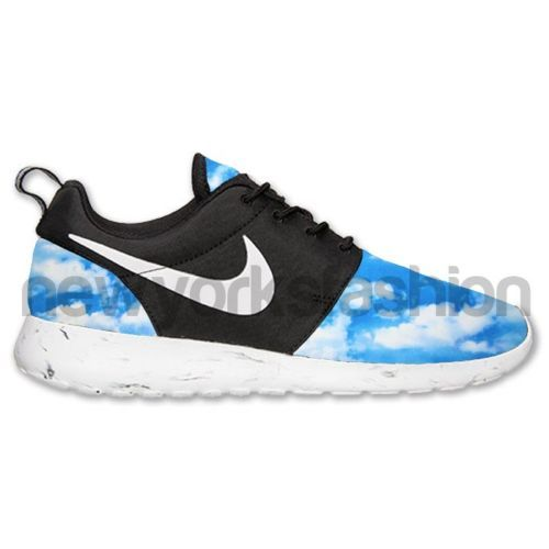 nike rift uk - New Nike Roshe Run Custom Black White Marble Up in The Sky Mens ...