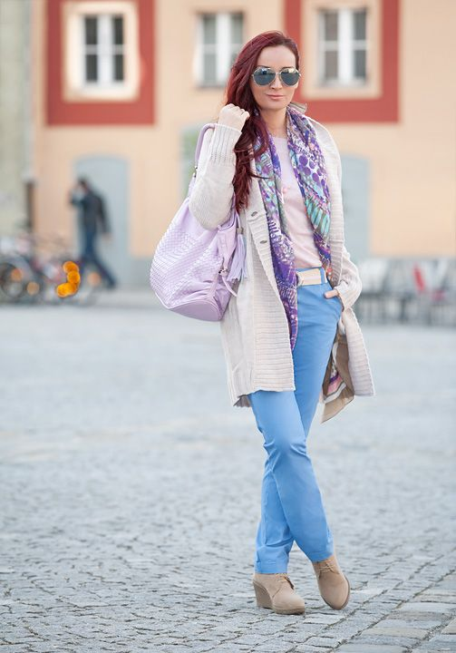 Pastel Color Blocking: Light blue chinos, pink lurex top, chunky knit jacket and lace