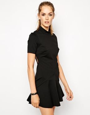 BCBGeneration High Neck Structured Dress with Lace Inserts