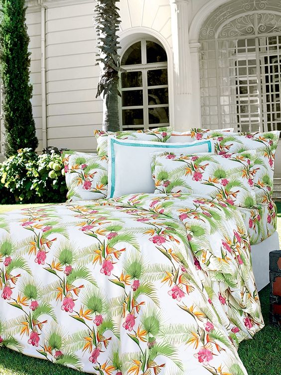 Linge de lit uni satin sublime descamps tropical floride et in - Housse couette descamps ...