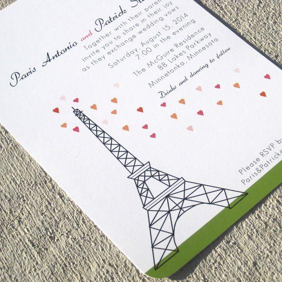 Paris Wedding Invitation Eiffel Tower Sample set by StelieDesigns