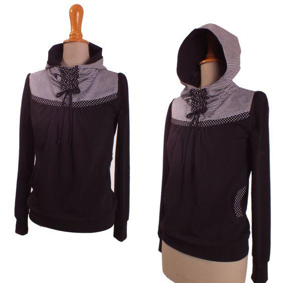 Hoodies - Hoodie, Kapuzen Sweatshirt, schwarz, karo - ein Designerstück von lisi-design bei DaWanda