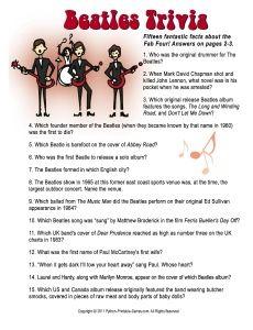 Beatles Trivia Trivia Pinterest 60th birthday party Games