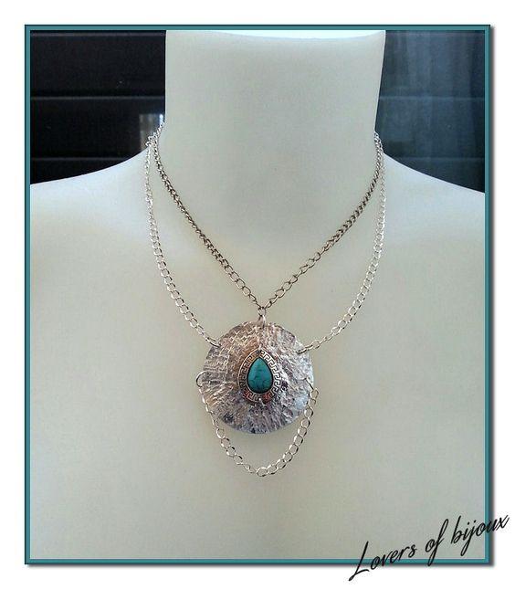 necklace, girocollo realizzato completamente a mano, costituito da alluminio battuto e monile in pasta di turchese