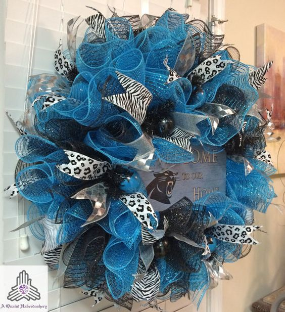 Sale for winning carolina panthers welcome by for Craft wreaths for sale