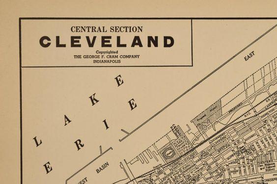 Vintage Map of Cleveland Ohio 1930s Original 1935