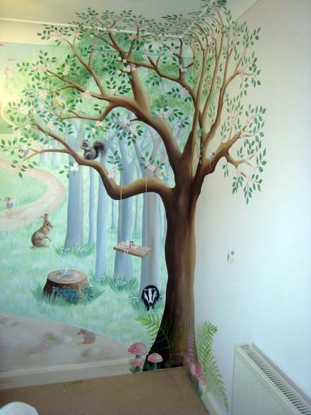 Woodland nursery mural fairy fun and frolics for Baby nursery tree mural