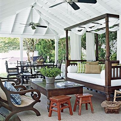 British West Indies porch. Love the teak daybed & plantation lazy chairs.