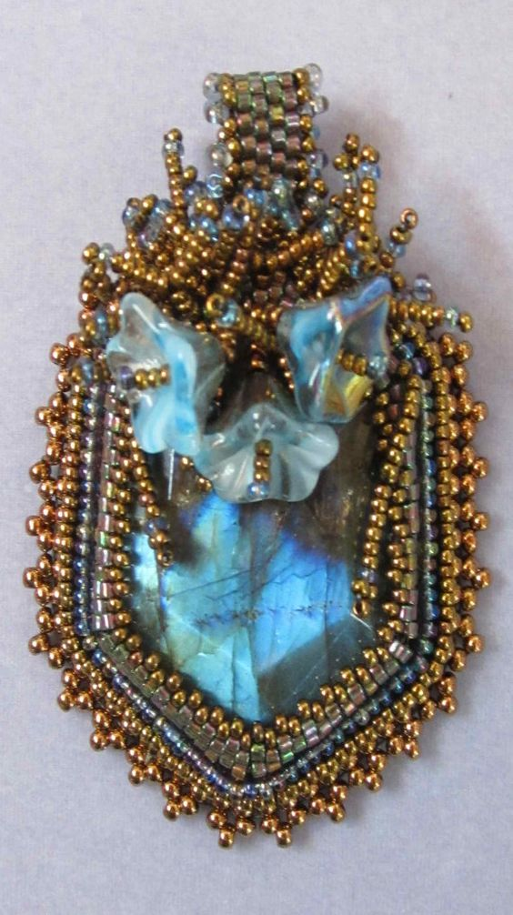 Labradorite pendant blue moon by sandeesbeads on etsy