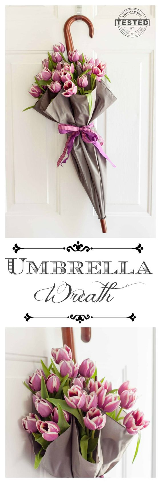This Umbrella Wreath is easy to make. Great tip if you want to use fresh flowers!: