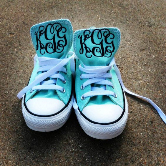 Aqua Monogrammed Converse Low Top Chuck Taylor Sneakers