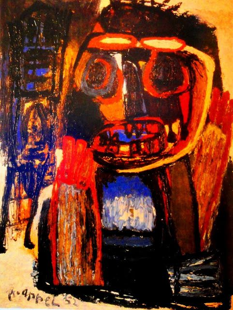 Karel Appel - Phanton with mask - Oil on canvas