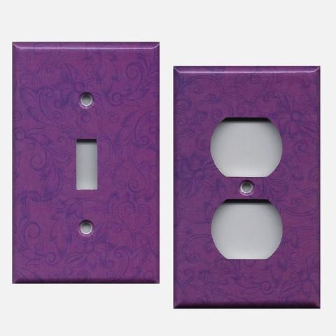 Violet Purple Floral Swirls Light Switch Plates Outlet Plate