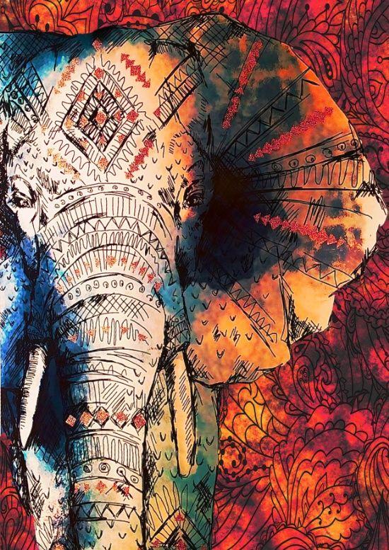 Indian Sketched Elephant Art Print