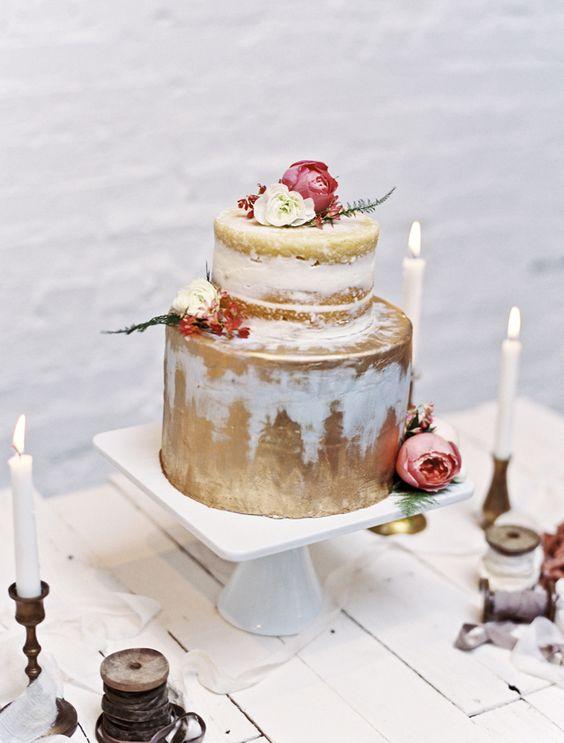 Naked cake   Loblee Photography   see more on: http://burnettsboards.com/2015/04/feminine-rustic-botanical-wedding/