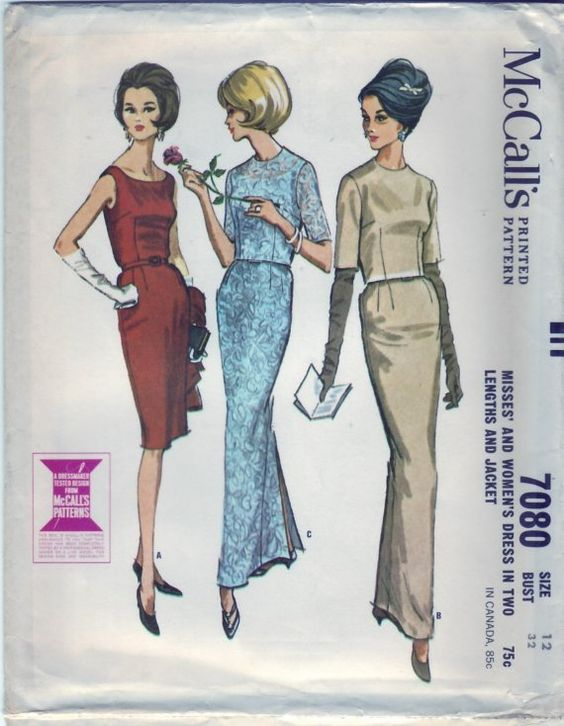Vintage 1963 McCall's 7080 UNCUT Sewing Pattern Misses' and Women's Dress in Two Lengths and Jacket