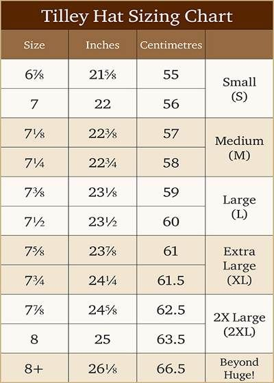 Tilley Hat Sizing Chart