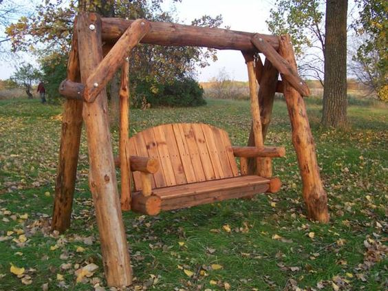 I have a wonderful log swing made by marisa enterprises for Round porch swing