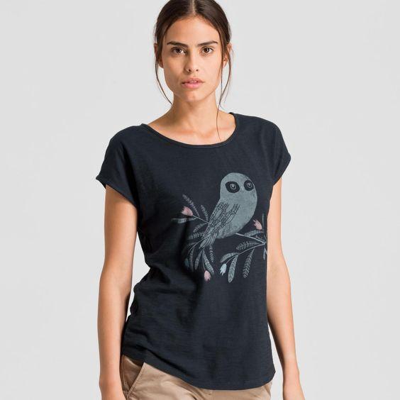 Scarlett Owl On A Branch T-Shirt Print | ARMEDANGELS