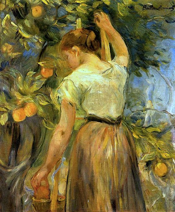 Young Woman Picking Oranges by Berthe Morisot.