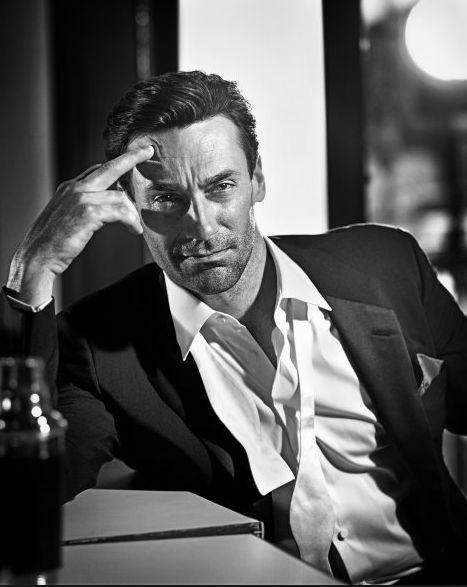 editorial mens fashion, black and white, GQ, Jon Hamm, Don Draper, gritty, contrast
