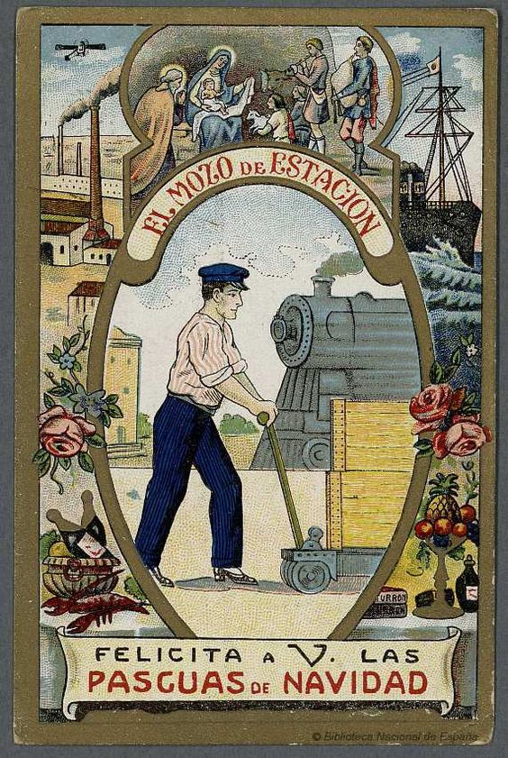 [Felicitaciones de Navidad de oficios.. EL MOZO DE ESTACION Grabado — 1900-1950