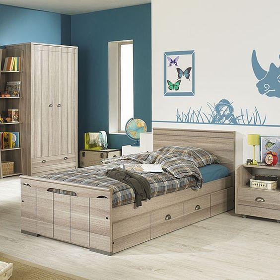 Orton - 3 Door 1 Drawer Wardrobe Childrens Beds Bedroom Cool