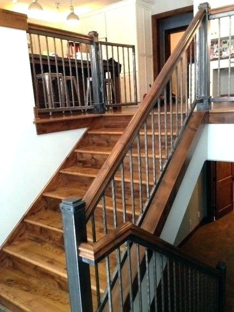 Rod Iron Spindles Wrought Staircase Traditional With Rustic Style