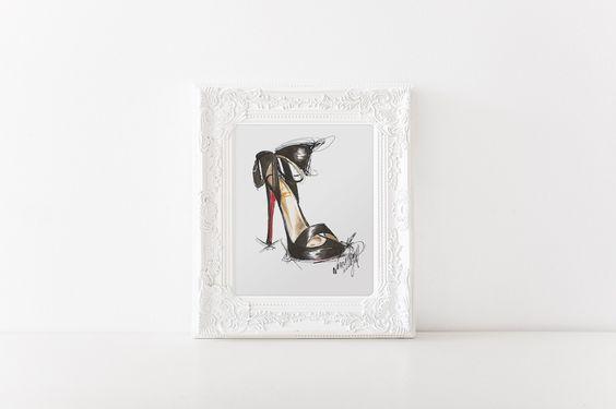 Black Heels - Art Print #fashion #glam #glamorous #decor #interiordecor #design #art #wallart #chic #parisian #parisienne #parisfashion #womensfashion #shoes