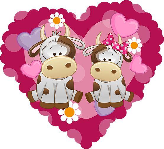 2 vaches dans un coeur